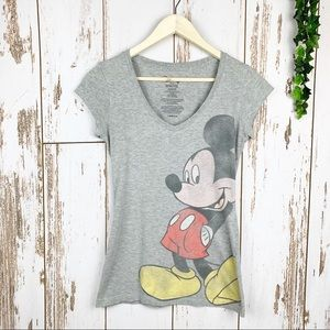 Vintaged Disney Faded Gray Mickey Graphic Tee EUC